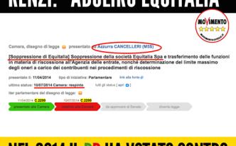 Renzi Equitalia M5S lo propose nel 2104